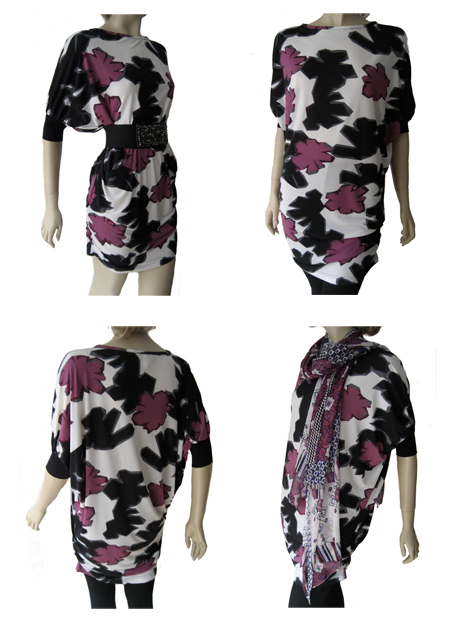 geometric flower tunic dress